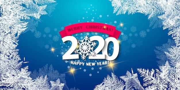 Feliz natal e feliz ano novo 2020 cartão