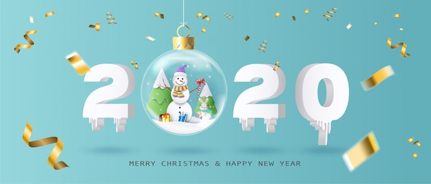 Feliz natal e feliz ano novo 2020 com bola de natal