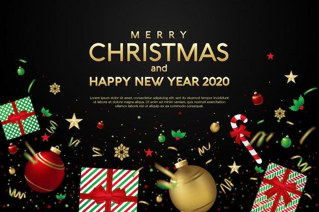 Feliz natal e feliz ano novo 2020 modelo de cartão com presentes de natal