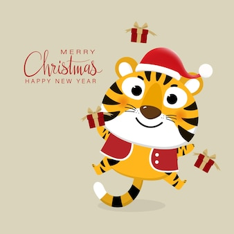 Feliz natal e feliz ano novo 2022 o ano do tigre