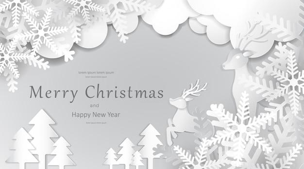 Feliz natal e feliz ano novo, arte de papel, publicidade com composição de inverno em estilo de corte de papel