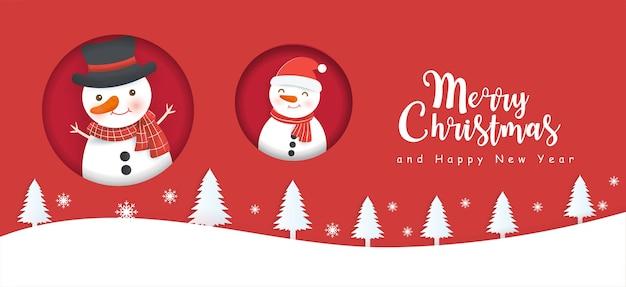 Feliz natal e feliz ano novo banner com boneco de neve bonito.