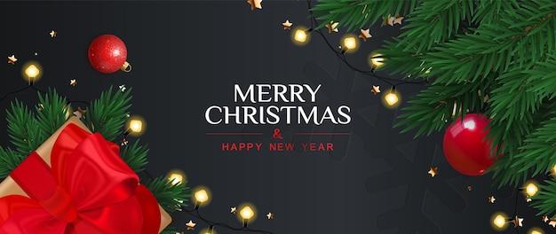 Feliz natal e feliz ano novo banner com caixa de presente, galhos de pinheiro e festão.