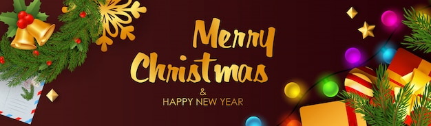 Feliz natal e feliz ano novo banner com guizos