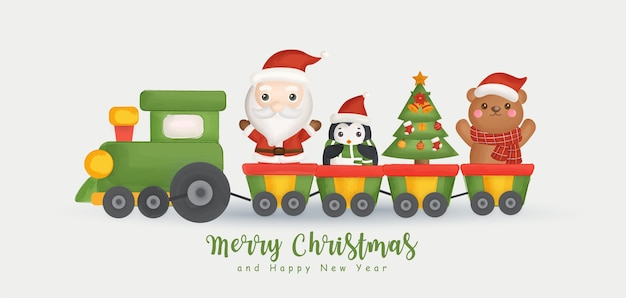 Feliz natal e feliz ano novo banner com lindo papai noel e amigos.
