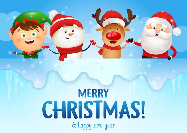 Feliz natal e feliz ano novo banner com personagens engraçados