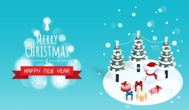 Feliz natal e feliz ano novo banner de caixa de presente