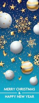 Feliz natal e feliz ano novo banner flocos de neve