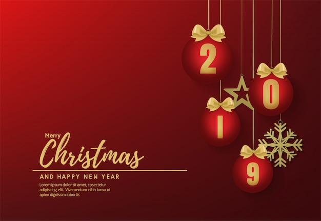 Feliz natal e feliz ano novo banner vector