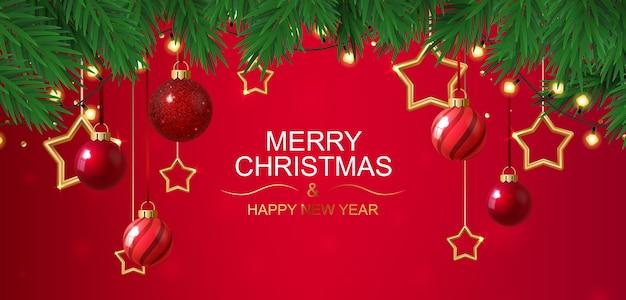 Feliz natal e feliz ano novo banner vermelho com estrelas.