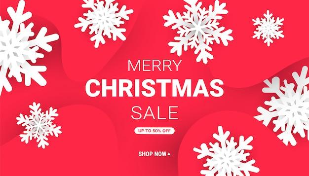 Feliz natal e feliz ano novo banner web com flocos de neve de corte de papel minimalista