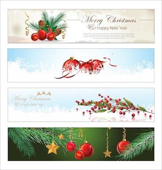 Feliz natal e feliz ano novo banner Vetor Premium