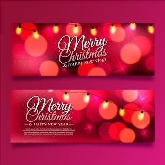 Feliz natal e feliz ano novo banners
