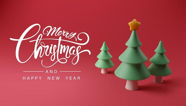 Feliz natal e feliz ano novo caligrafia e pinheiro de árvore de natal na bandeira vermelha, conceito de celebração de feriado e festival.