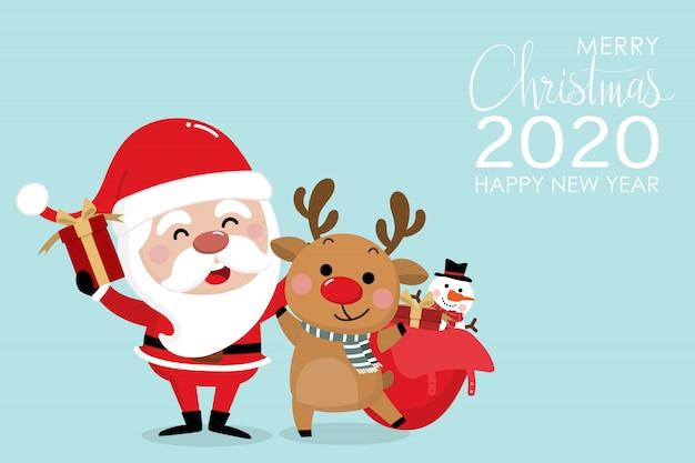 Feliz natal e feliz ano novo cartão 2020