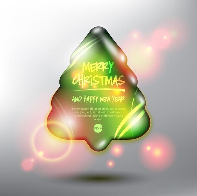 Feliz natal e feliz ano novo cartão árvore de natal isolada no fundo branco