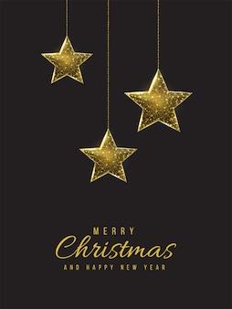 Feliz natal e feliz ano novo cartão baixo poli. ilustração de malha de wireframe poligonal com estrelas de natal penduradas. ilustração abstrata do vetor em fundo escuro.