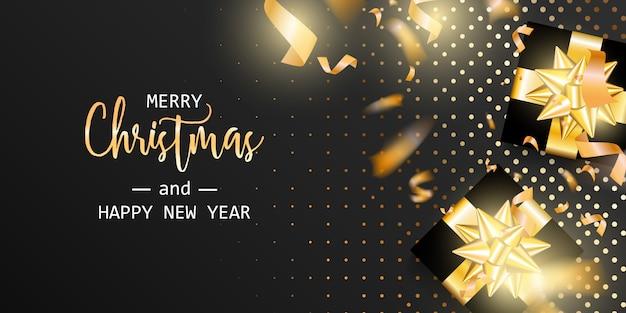 Feliz natal e feliz ano novo cartão. banner de natal.