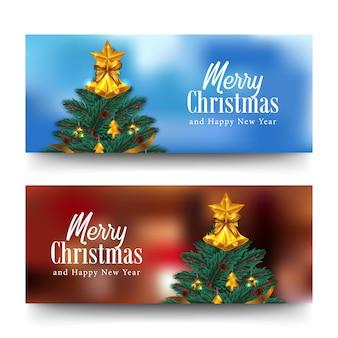 Feliz natal e feliz ano novo cartão banner horizontal