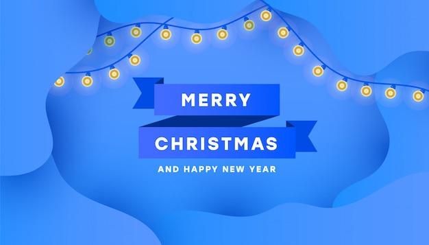 Feliz natal e feliz ano novo cartão cartaz com fita azul mínima e guirlanda