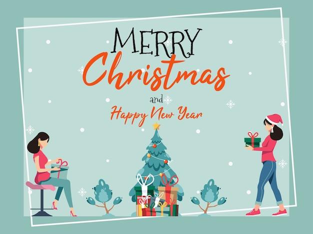 Feliz natal e feliz ano novo cartão com árvore de natal, caixa de presente e mulher