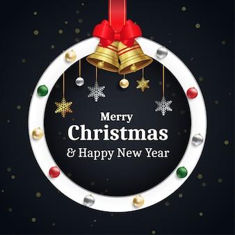 Feliz natal e feliz ano novo cartão com bolhas coloridas