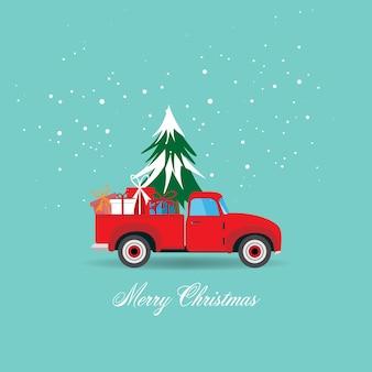Feliz natal e feliz ano novo cartão com caminhonete com árvore de natal e ilustração de caixa de presente.