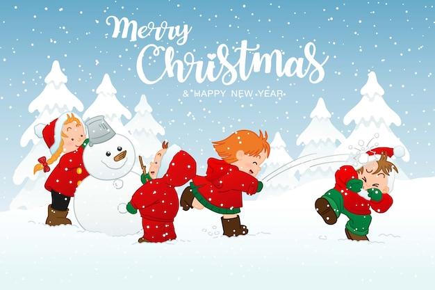 Feliz natal e feliz ano novo cartão com crianças brincando na neve de atividades de férias de inverno, personagem de desenho animado de ilustração fofa
