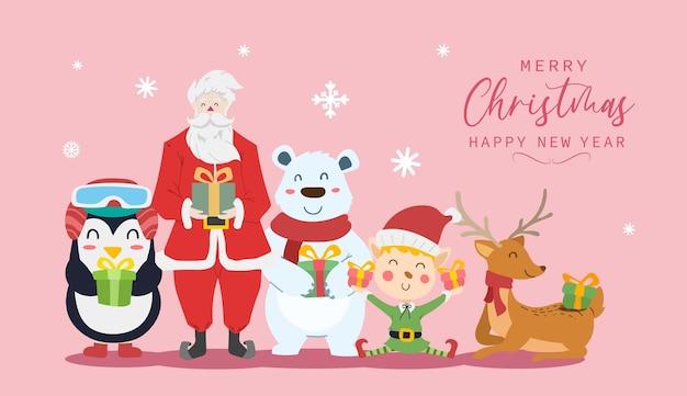 Feliz natal e feliz ano novo cartão com desenhos animados de papai noel, renas, urso polar, menino elfo e pinguim. ilustração vetorial.