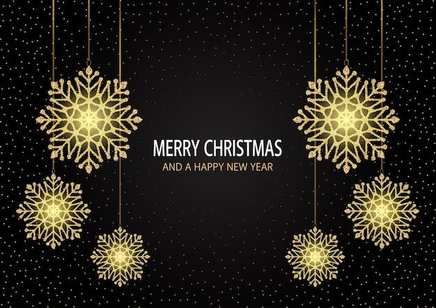 Feliz natal e feliz ano novo cartão com design de flocos de neve cintilantes