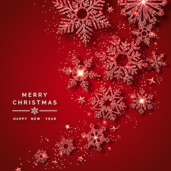 Feliz natal e feliz ano novo cartão com flocos de neve vermelhos brilhantes, bolas, estrelas e confetes.