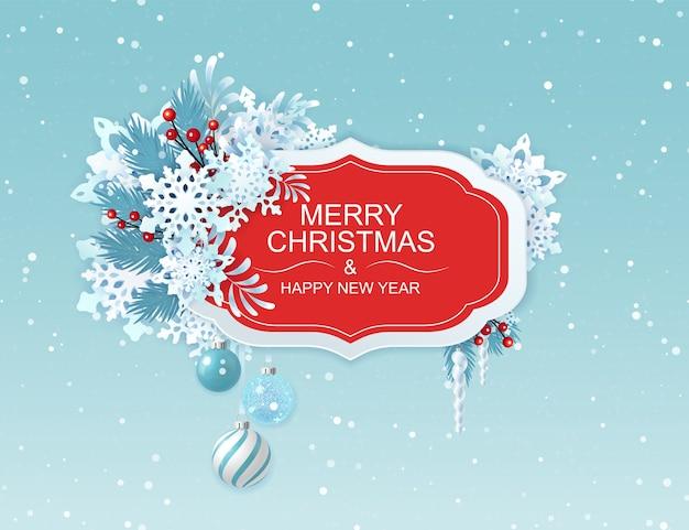 Feliz natal e feliz ano novo cartão com flocos de neve.
