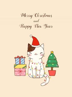 Feliz natal e feliz ano novo cartão com gato fofo