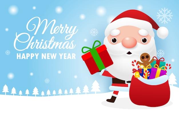 Feliz natal e feliz ano novo cartão com o lindo papai noel