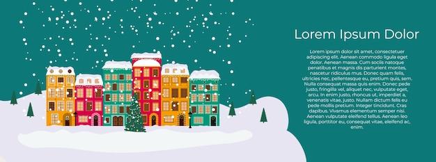 Feliz natal e feliz ano novo cartão com pequena cidade em estilo retro.
