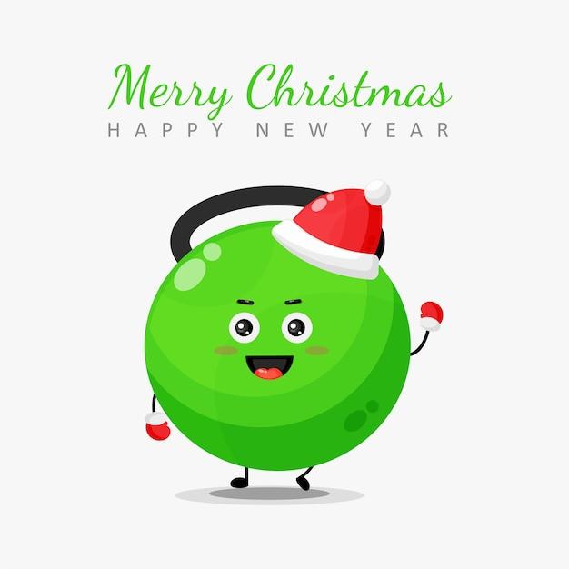 Feliz natal e feliz ano novo cartão com personagem de fitness kettlebell