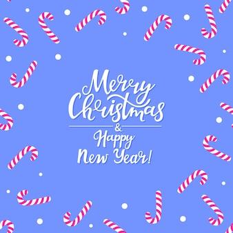 Feliz natal e feliz ano novo cartão com pirulitos.