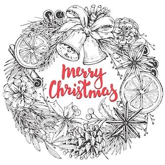 Feliz natal e feliz ano novo cartão com plantas de inverno desenhadas à mão
