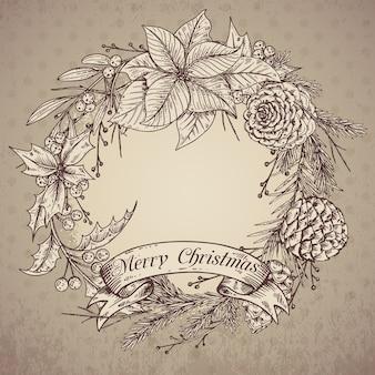Feliz natal e feliz ano novo cartão com plantas de inverno mão desenhada. ilustração vintage.