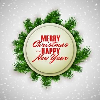 Feliz natal e feliz ano novo cartão com ramos de abeto