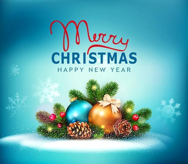 Feliz natal e feliz ano novo . cartão comemorativo de ano novo