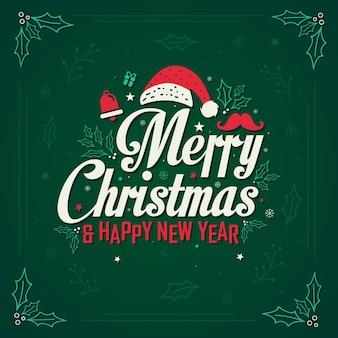 Feliz natal e feliz ano novo cartão convite
