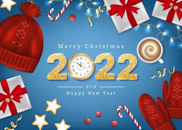 Feliz natal e feliz ano novo cartão de felicitações de inverno elementos de abeto ramos de malha chapéu azul