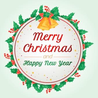 Feliz natal e feliz ano novo cartão de felicitações