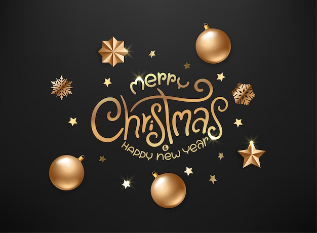 Feliz natal e feliz ano novo cartão de luxo com inscrição caligráfica