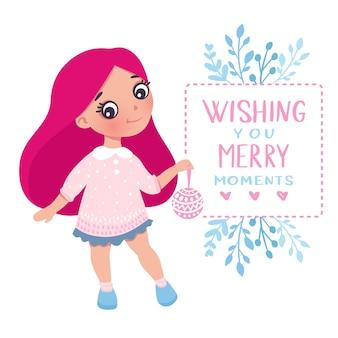 Feliz natal e feliz ano novo cartão de menina