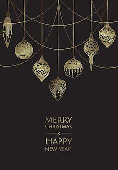 Feliz natal e feliz ano novo. cartão de modelo moderno de vetor. resumo de bolas de natal.