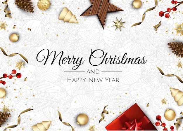 Feliz natal e feliz ano novo. cartão de natal com caixa de presente, flocos de neve e bolas de design.