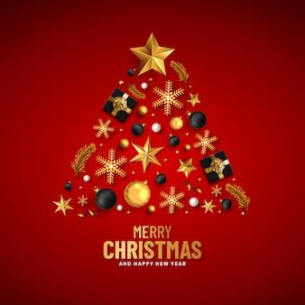 Feliz natal e feliz ano novo cartão de saudação de natal em vermelho com decoração