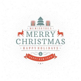 Feliz natal e feliz ano novo cartão de texto